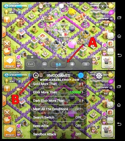 Tampilan Xmod Clash of clans