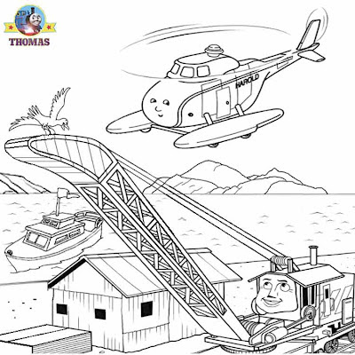 Rocky Harold helicopter Misty Island rescue Thomas and his friends coloring pages for preschoolers
