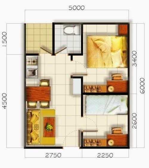 Desain Rumah Minimalis 1 Kamar Tidur