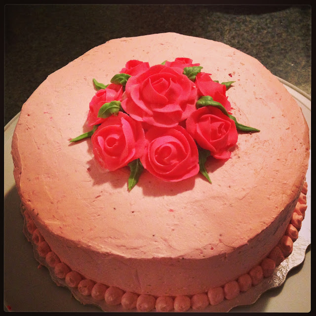 Strawberry Cake with Strawberry Meringue Buttercream