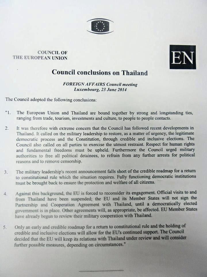EU Council Statement