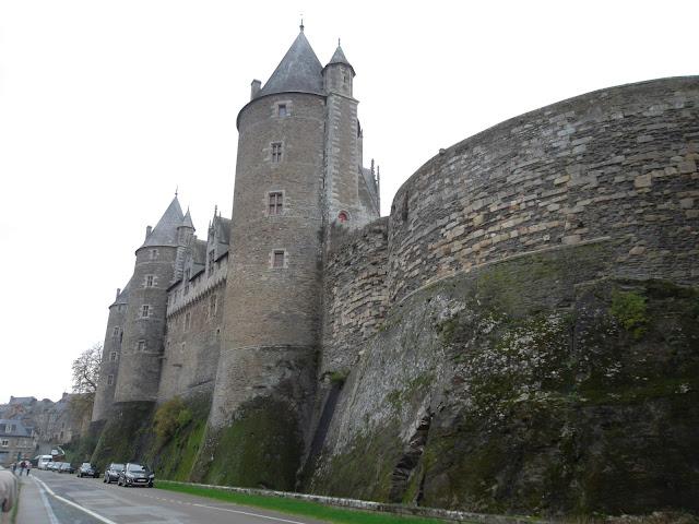 Impressive Josselin castle from the river
