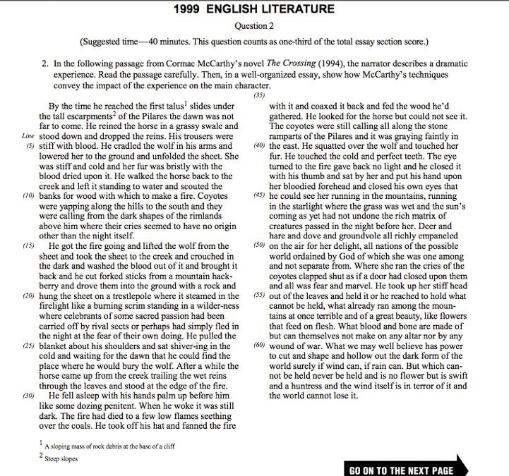 Sample ap lit essays
