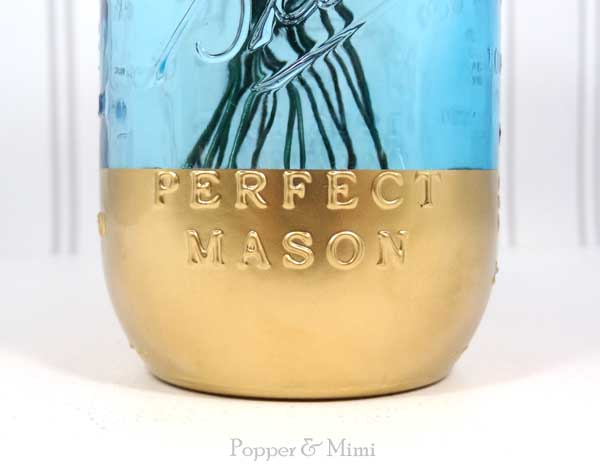Gold dipped blue mason jar | popperandmimi.com