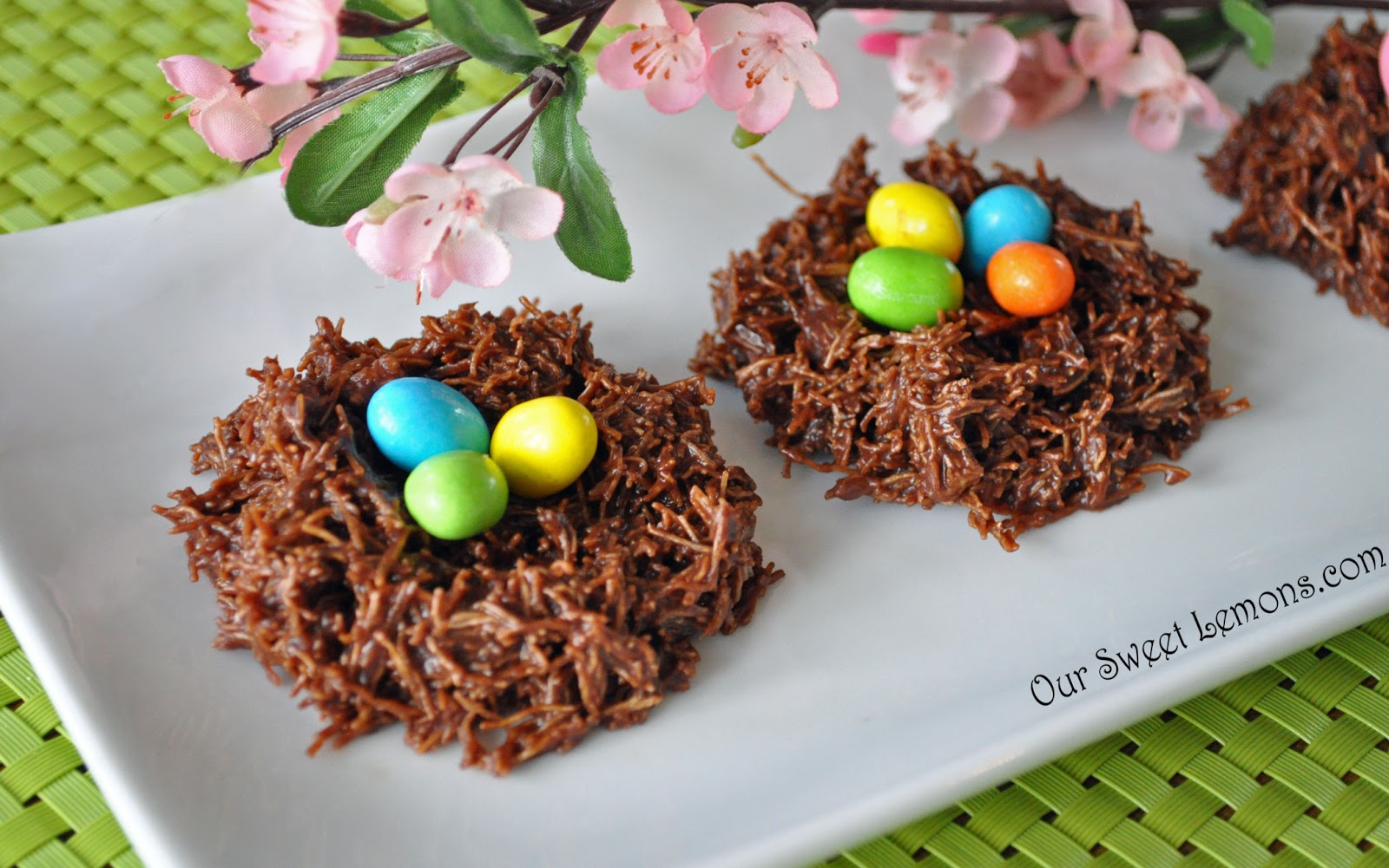 Our sweet lemons easter eggs in a nest for Non traditional easter dinner ideas