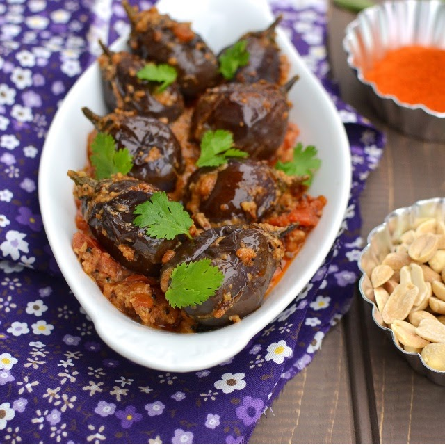Stuffed Baby Eggplants Curry with Peanuts