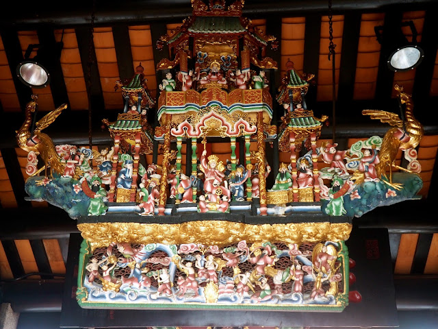 Detailed, colourful carving in Pak Tai Temple, Cheung Chau Island, Hong Kong