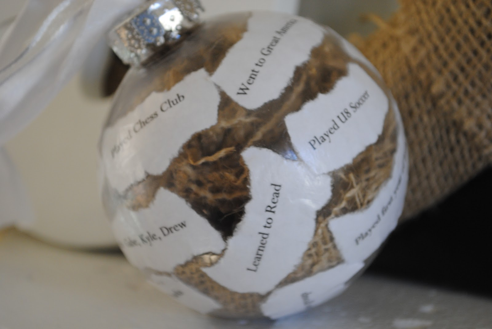 In memory of ornaments - I Have Seen Those Pretty Ornaments On Pinterest With The Curled Pieces Of An Invitation Or Birth Announcement In A Clear Glass Christmas Ornament