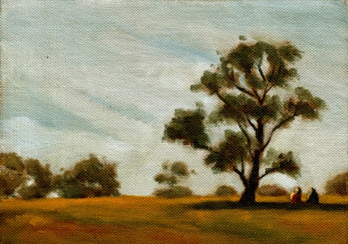 Oil painting of two figures sitting in the shade of a eucalypt early on a sunny afternoon.