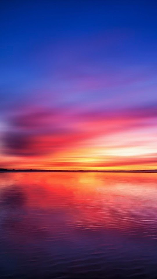 Fire Sky Lake Sunset  Galaxy Note HD Wallpaper
