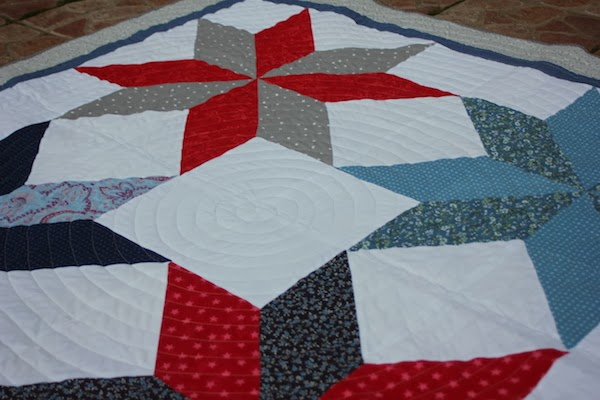 spiral quilting for a patchwork with stars