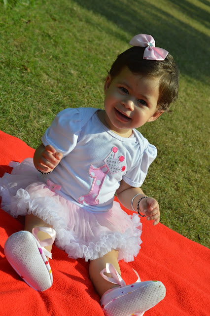 Pink and white first birthday dress