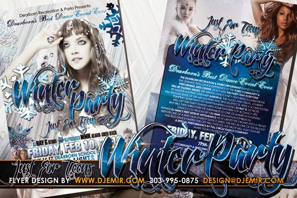 Just For Teens Winter Party Flyer Design