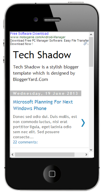 Display Ads in Mobile Version of Blogger Blogs.