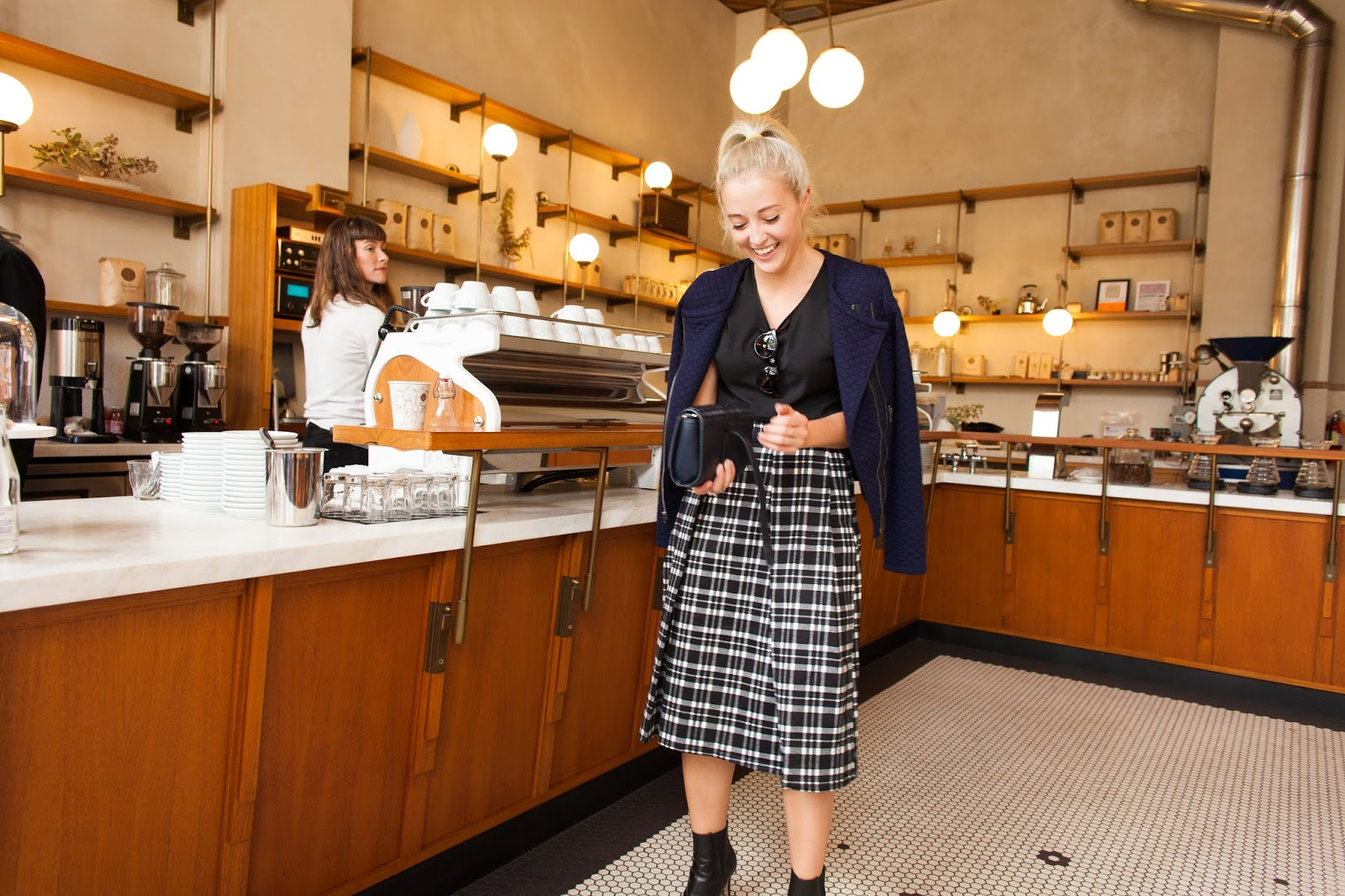 San Francisco Style Blogger Bryn Newman in Sight Glass Coffee Shop