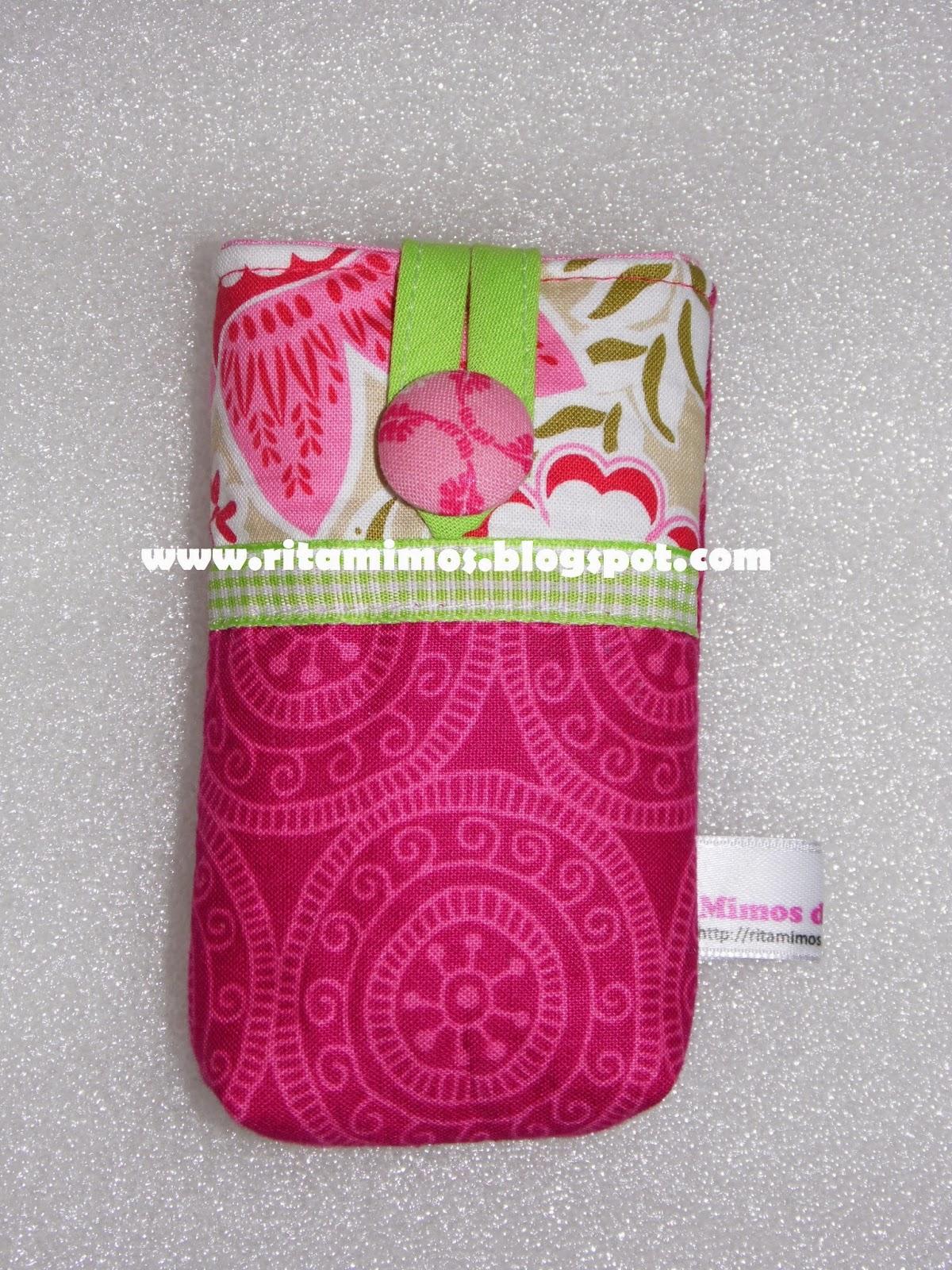 Bolsa Em Tecido Para Telemovel : Mimos da rita bolsa de telem?vel em tecido verde e rosa