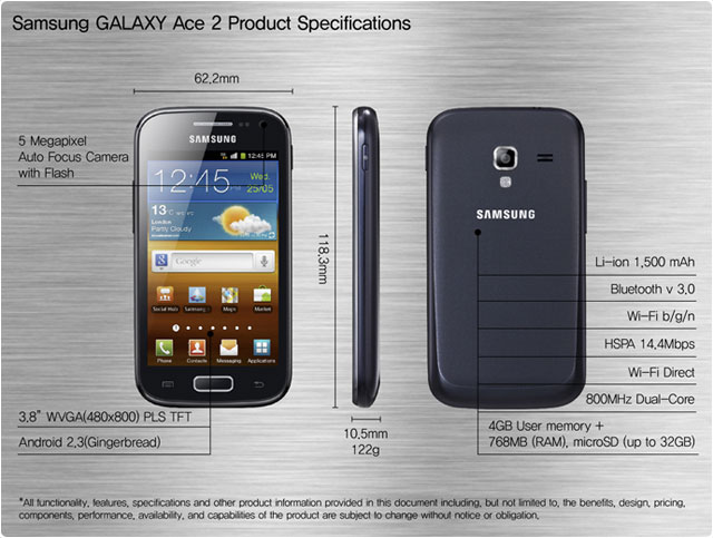 Samsung Galaxy Ace 2 Specification and Price