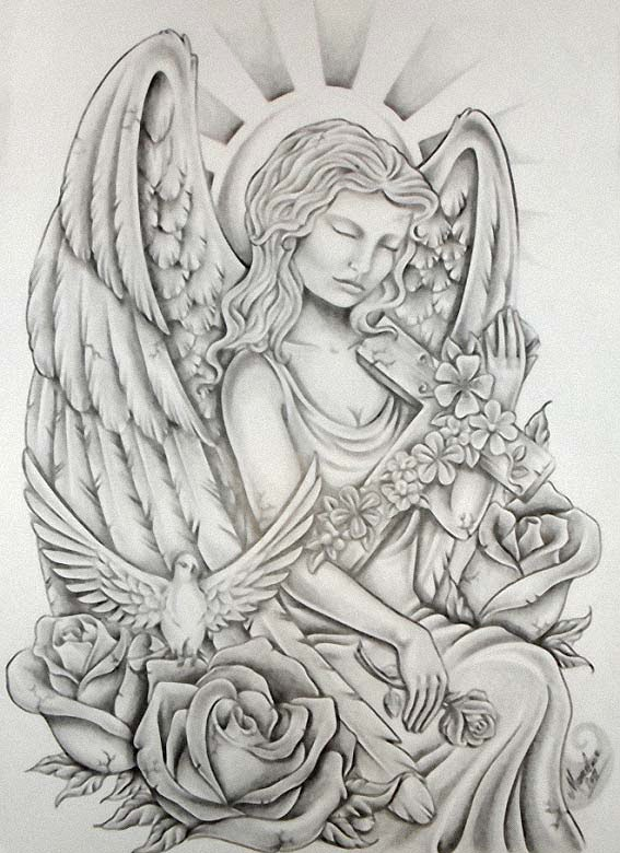 recent angel tattoos for women