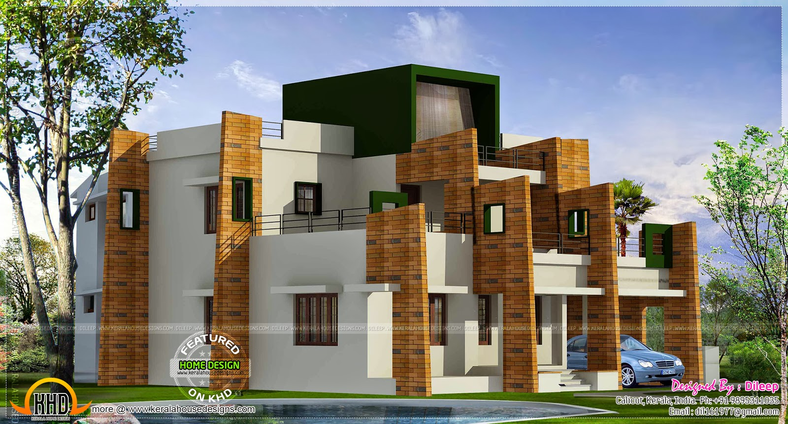 Contemporary model home kerala home design and floor plans for Contemporary model homes