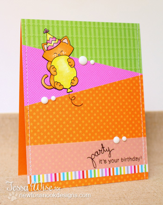 Birthday Cat card by Tessa Wise for Newton's Nook Designs | Sweet Summer Stamp Set