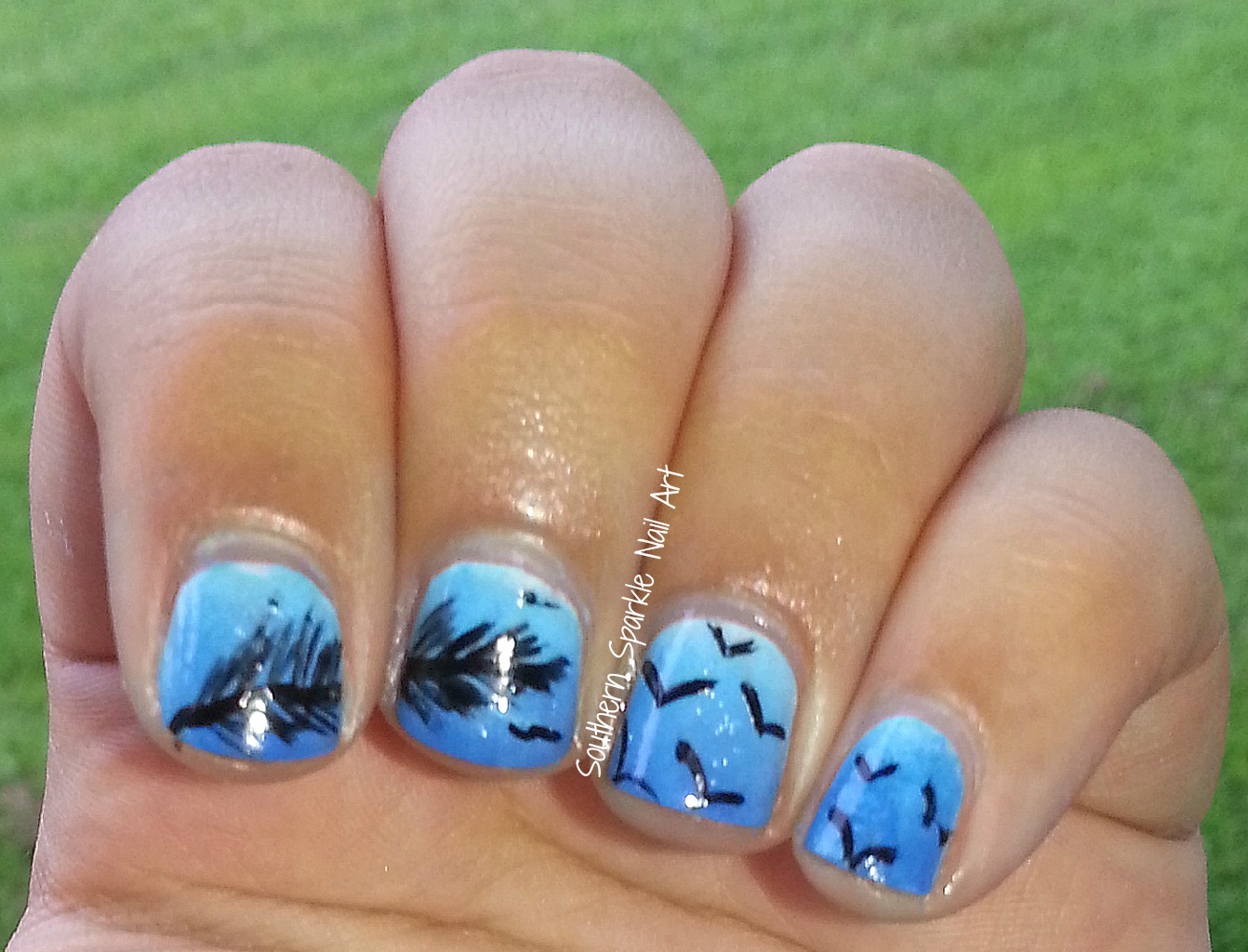 Southern sparkle nail art july 2014 twin nails birds feathers prinsesfo Choice Image