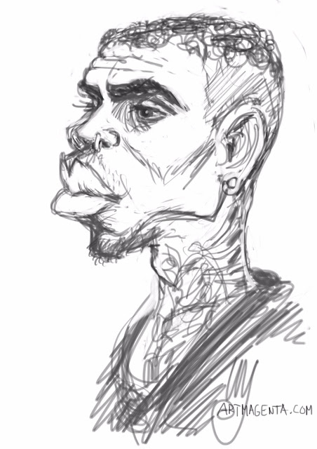Chris Brown caricature cartoon. Portrait drawing by caricaturist Artmagenta