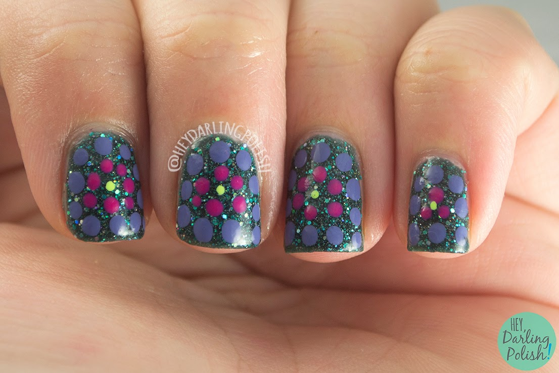 nails, nail art, nail polish, green, purple, pink, pipe dream polish green light, indie polish, hey darling polish, tri polish challenge