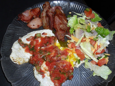 Low Carb Foods: Bacon, Eggs With Salsa, and Salad