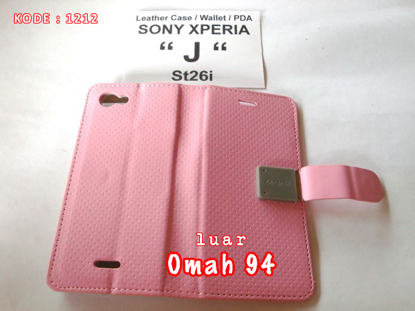 PDA Wallet Book Leather Case Sony Xperia J ST26i Merah Hati (Pink