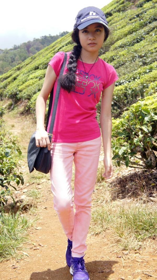At Strawberry and Tea Land, Cameron Highland, Tea Farm, BMW Williams F1 Team Cap, Reebok T-Shirt, Moschino Bag, Light Pink Skinny Jeans, Adidas Falcon Pro W Sneakers