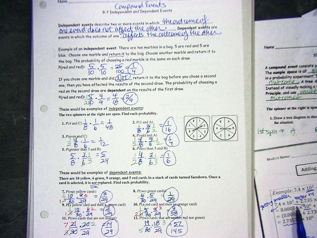 Worksheets Probability Independent And Dependent Events Worksheet With Answers math 7 with mrs vandyke october 2015 video on independent and dependent probability watch this 3 9 events notes here