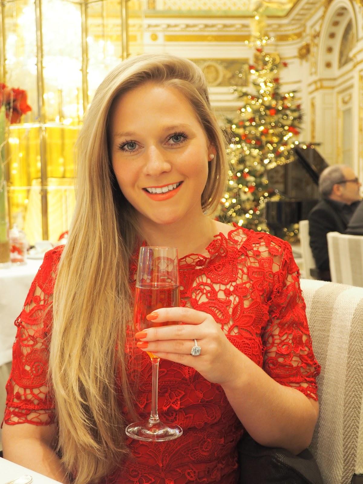 Peninsula Hotel, Paris, Afternoon Tea, Katie Matthews, Blonde girl wearing red dress sipping champagne