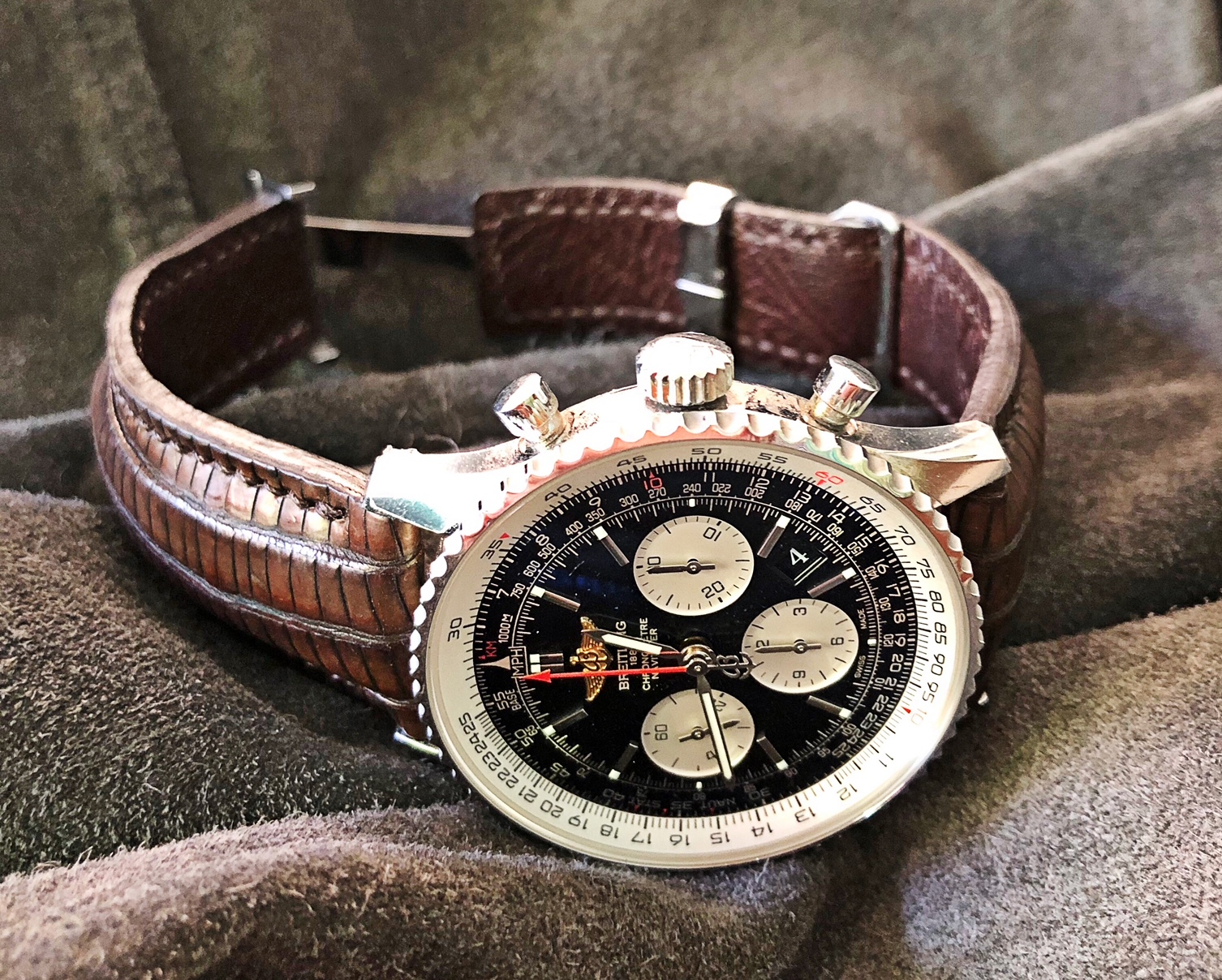 Ron's Navitimer on Dark Walnut Teju Lizard Strap