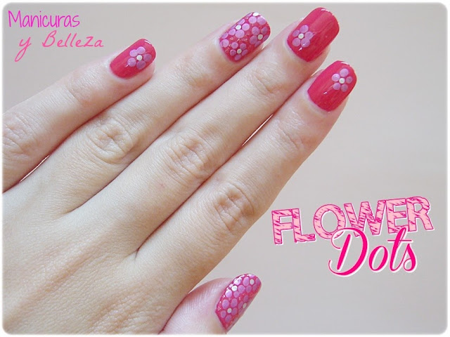 Manicura de flores fácil sencilla con puntos Nail art flowers with dots easy nails pink