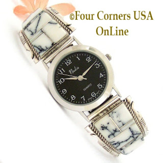 Men's White Buffalo Inlay Watch with Black Wide Rim Contemprary Face Four Corners USA OnLine Native American Navajo Jewelry