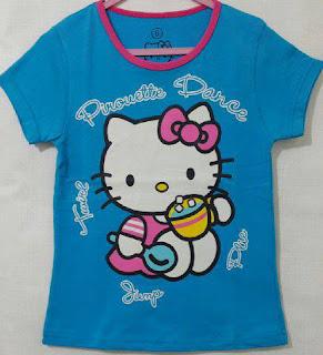 Baju Anak Karakter Hello Kitty Biru Size 1 - 6 Tahun