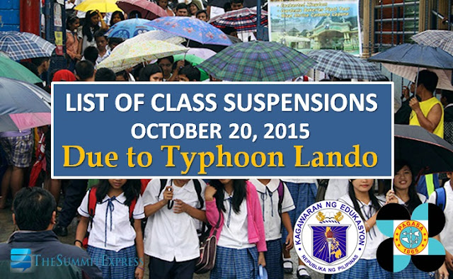 Class Suspensions for October 20, 2015 | #WalangPasok