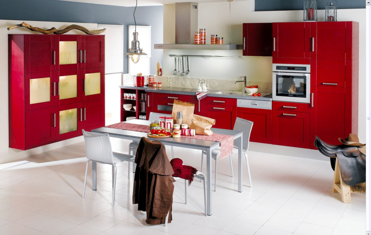 White And Red Kitchen Home Interior Design Decor January 2012