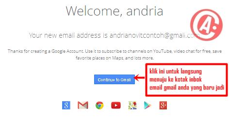cara membuat / mendaftar email baru di gmail - continue to gmail