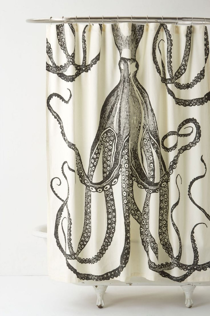 Peacock shower curtain urban outfitters - What S Currently In My Bathroom Octopus Garden Curtain From Anthropologie