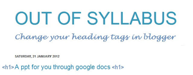 optimizing header tags in blogger