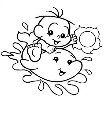 Desenhos da Turma da Mônica para Colorir - Cebolinha no Golfinho Baby