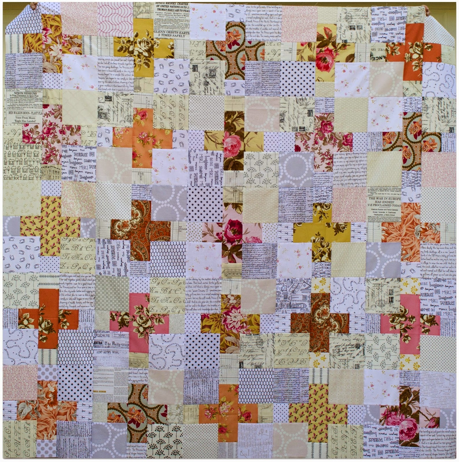 romantic low volume and cross quilt top by the sewing chick