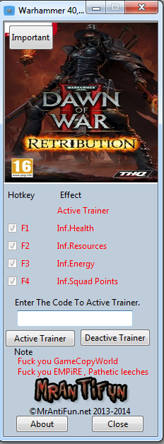Warhammer 40,000 Dawn of War 2 Retribution V3.19.0 Trainer +4 MrAntiFun
