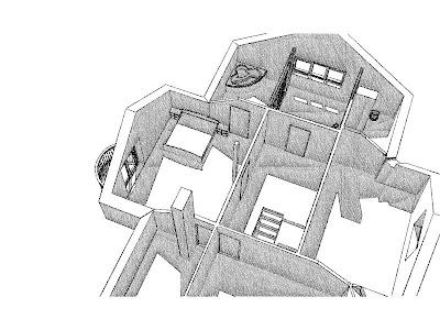 Architekt Rzeszów. Dom jednorodzinny, wizualizacja poddasza, garderoba, sypialnia, łązienka.