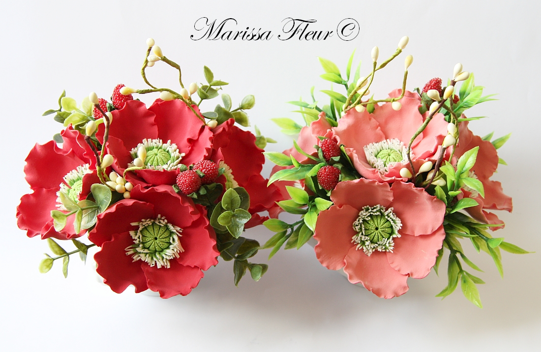 A Touch Of Beauty...: Small Centerpieces With Red And Coral Poppies