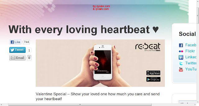 Rebtel free app records your heartbeat and communicates-sms digitally to your Valentine or anyone you love