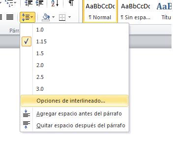 Word 2010 interlineado for En word cual es el interlineado