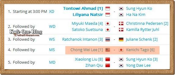 jadual perlawanan akhir badminton terbuka india 2013 lee chong wei vs kenichi tago