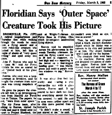 Floridian says 'Outer Space' Creature Took His Picture - San Jose Mercury 3-5-1965